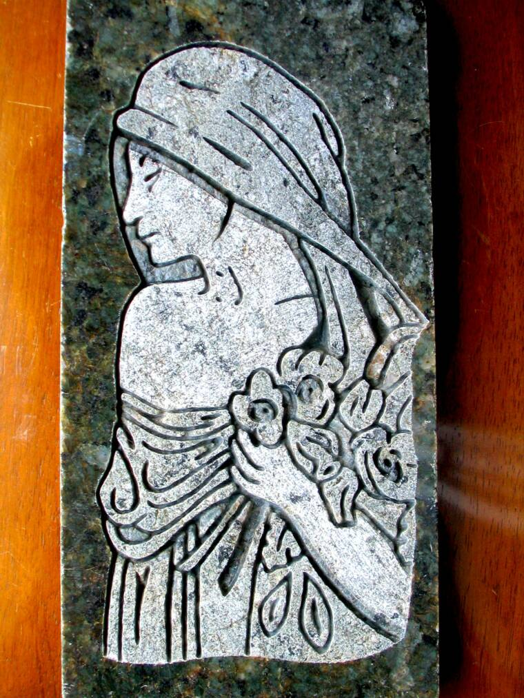 GIRL ETCHED & SHADED IN GRANITE