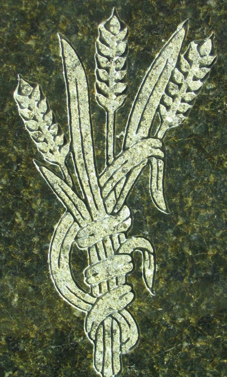 WHEAT DESIGN ENGRAVED IN GRANITE