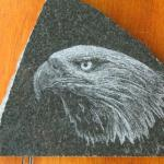Granite etching of an eagle. Etching granite is the reverse of a pencil drawing... shadows have the least amount of surface removed.
