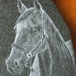 Granite Etching of a Horse. All my etchings are done by hand with a diamond point. I feel it provides superior detail up-close as opposed to laser etching machines.