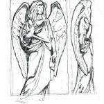Granite Angel Sketch shown with outline of rough slab.