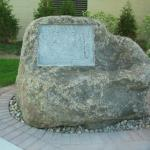 Granite Boulder with new recess to receive owner's plaque, done on site. Gateway Technical College, Racine, WI