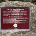 Final Plaque installed on Granite Boulder -  Gateway Technical College, Racine, WI.
