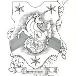 Armorial Bearings of a Sea unicorn rampant & reargardant