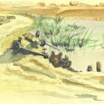Knocked-out Tank Watercolor