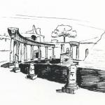 Ink Sketch of Hadrian's Villa - Italy