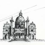 Ink Sketch of Karlskirche - Vienna
