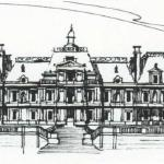 Ink Sketch of French Chateau